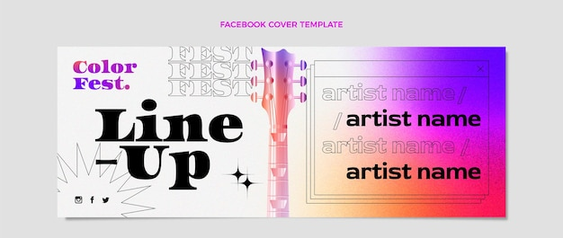 Farbverlauf bunte musikfestival social-media-cover-vorlage