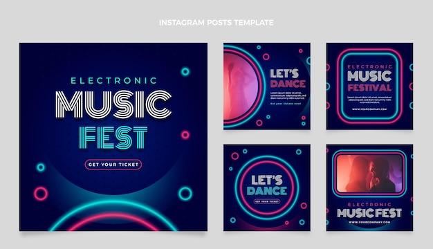 Farbverlauf bunter musikfestival-instagram-post
