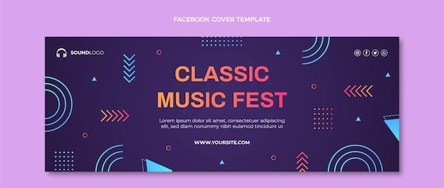 Farbverlauf buntes musikfestival facebook-cover Kostenlosen Vektoren