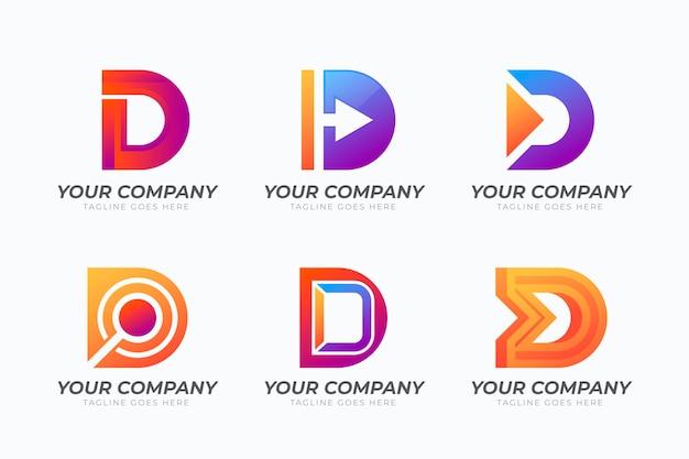 Farbverlauf d logo-vorlagen-sammlung
