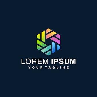 Farbverlauf doppelt sechseck logo