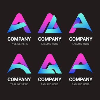 Farbverlauf einer logo-vorlagensammlung Kostenlosen Vektoren