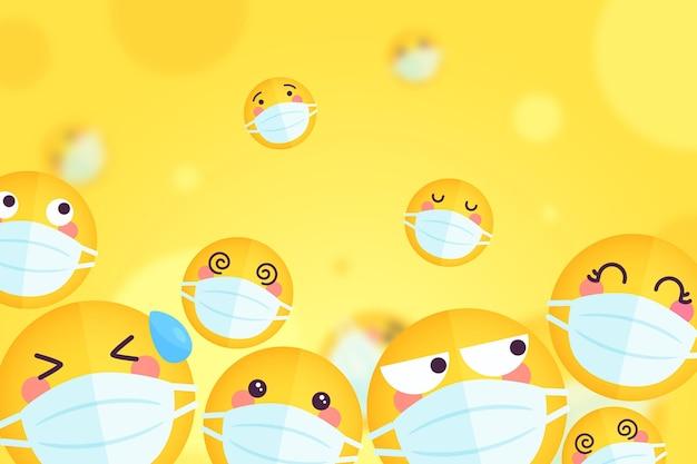 Farbverlauf-emoji mit gesichtsmasken-hintergrund