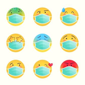 Farbverlauf-emoji mit gesichtsmasken-set