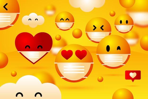 Farbverlauf-emoji mit gesichtsmaskenhintergrund