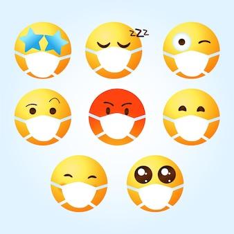Farbverlauf-emoji mit gesichtsmaskensammlung