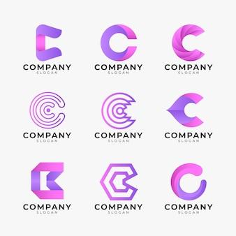 Farbverlauf farbige c logo-schablonensammlung