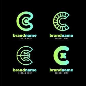 Farbverlauf farbiges c-logo-vorlagenpaket