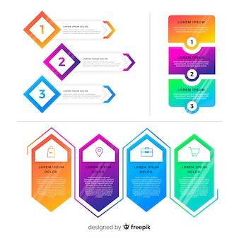 Farbverlauf flache infografiken elementsammlung