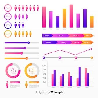 Farbverlauf flache infographik elementsammlung