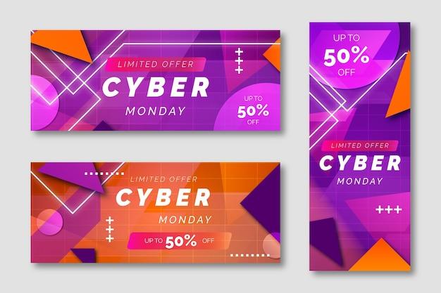 Farbverlauf futuristische cyber-montag-banner-set