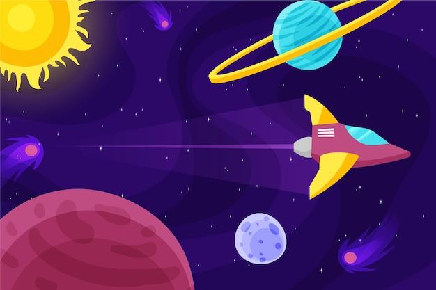 Farbverlauf galaxie hintergrund mit rakete