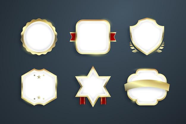 Farbverlauf goldene luxus-abzeichen-kollektion
