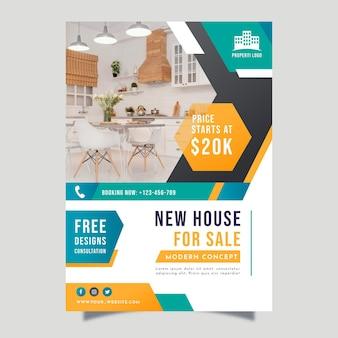 Farbverlauf immobilienplakat mit foto
