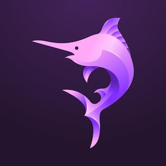 Farbverlauf marlin fisch modernes logo