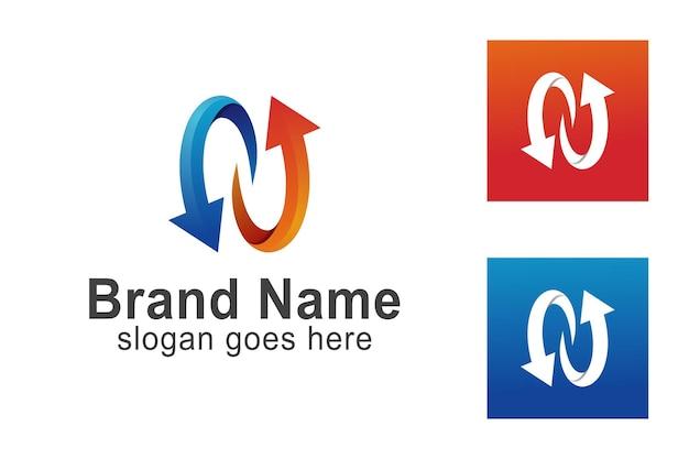 Farbverlauf moderner anfangsbuchstabe n mit pfeil recycelt für ihre identitäts-business-logo-vorlage