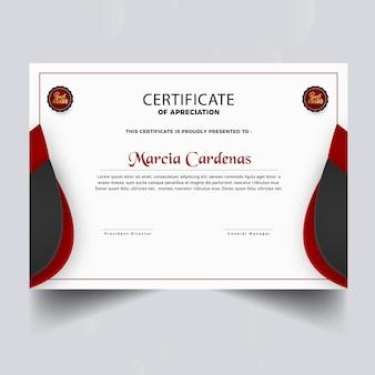 Farbverlauf neue rote elegante zertifikatsvorlage