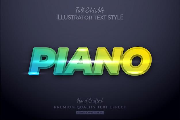 Farbverlauf piano neon bearbeitbarer 3d-textstileffekt