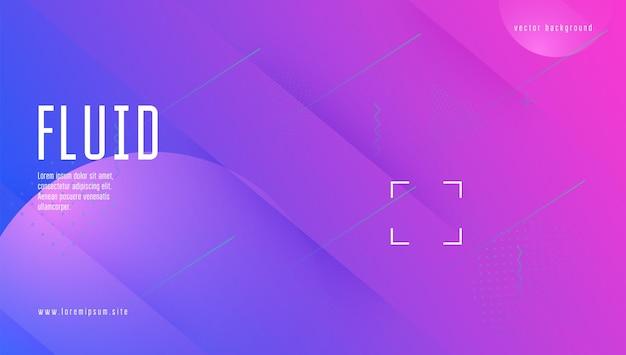 Farbverlauf-poster. memphis-seite. kunst neon-layout. geometrische website. mehrfarbige vorlage. flüssige form. lila trendiges design. flow-landingpage. lila farbverlauf poster