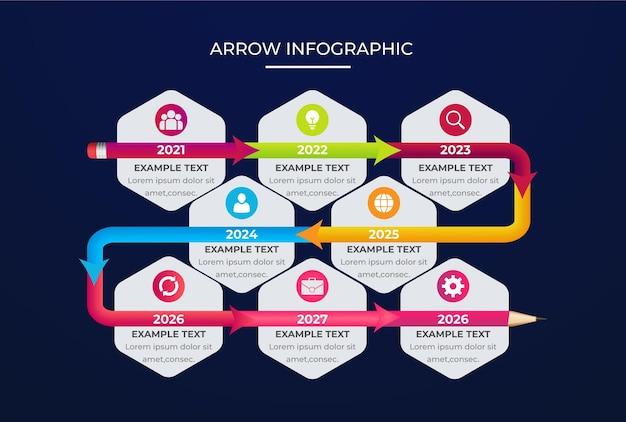 Farbverlauf realistische bunte pfeil-infografik-vorlage