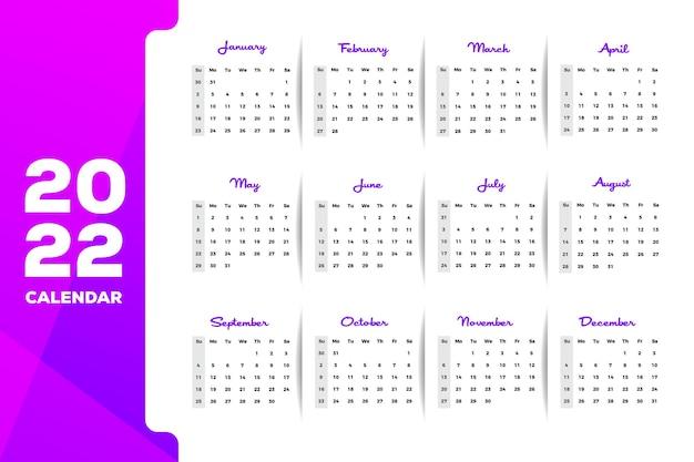 Farbverlauf rosa bis violett 2022 druckfertiger wandkalender im querformat