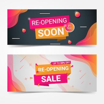 Farbverlauf rosa orange wiedereröffnung bald banner vorlage