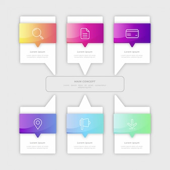 Farbverlauf schritte infographik