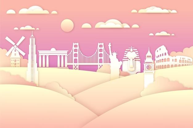 Farbverlauf sehenswürdigkeiten skyline im papierstil
