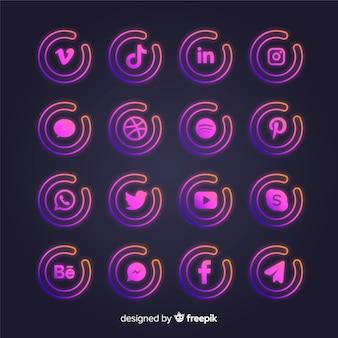 Farbverlauf social media logo-auflistung
