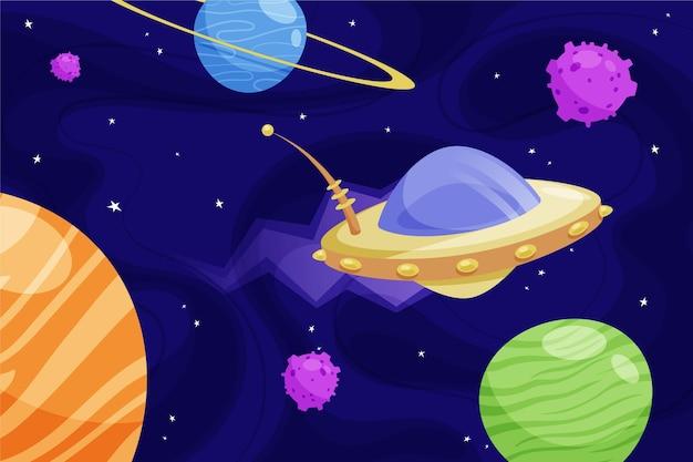 Farbverlaufsgalaxiehintergrund mit ufo
