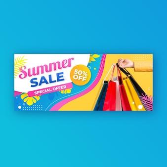 Farbverlaufssommerverkaufsfahnenschablone mit foto