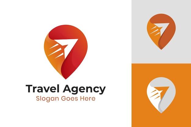 Farbverlaufsstift-kartenschild mit flugzeug oder schnellem pfeil für den reiseort, moderne logovorlage der agentur
