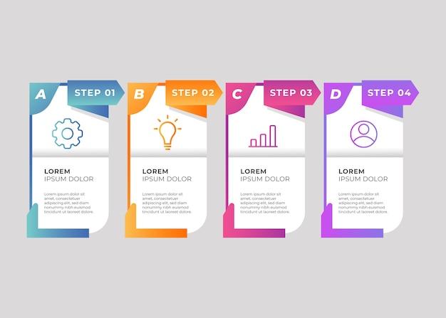 Farbverlaufsvorlage schritte infografik