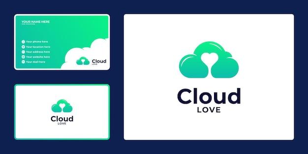 Farbverlaufswolken-logo-design und visitenkarte mit herzkonzept,