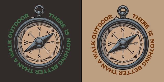 Farbweinleseillustration eines kompasses. perfekt für logos, shirt prints und viele andere