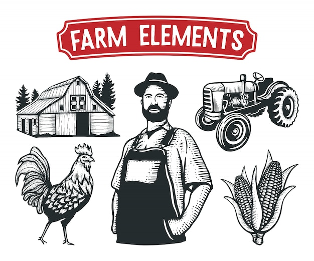 Farm elements hand gezeichnet