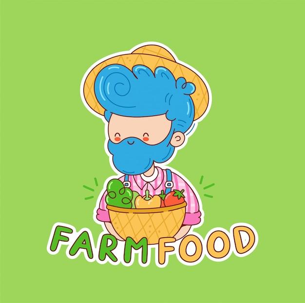 Farm food logo design. bauernmann mit gemüsekorb. zeichentrickfigur illustration. auf weißem hintergrund isoliert
