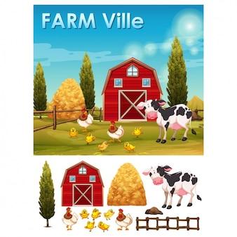 Farm hintergrund und elemente
