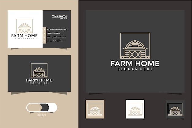 Farm home logo design mit linienstil und visitenkarte