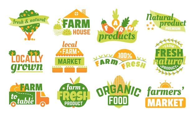 Farm market labels set mit illustrationen, bannern und bändern für bio-, frisch- und bauernprodukte. grünes vegetarisches logo, hochwertige landwirtschaftliche embleme. aufkleber für naturprodukte.