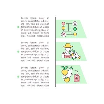 Farm produzieren marketing-konzept-symbol mit text. landwirtschaftlicher verkauf. provisionsverteilung.