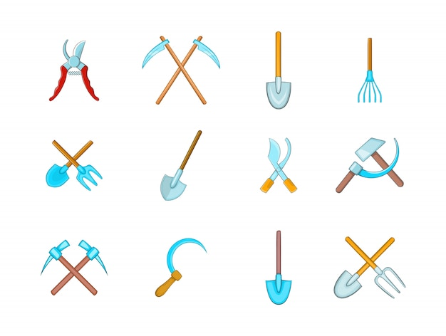 Farm tools-elementsatz. karikatursatz bauernhof bearbeitet vektorelemente