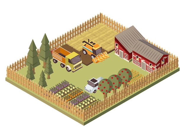 Farm vehicles isometric design
