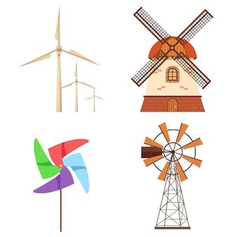 Farm windmühle, elektrische windkraftanlage, papier windradsatz. flache karikaturikonensammlung der alternativen ökologieenergie lokalisiert auf einem weiß