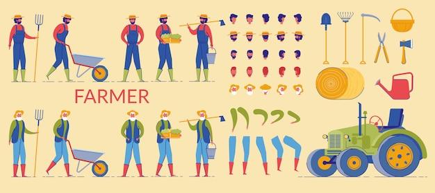 Farmer charecter arbeiten auf dem bauernhof, körperteile.