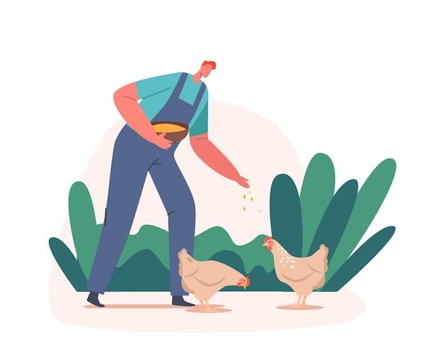 Farmer feed chicken, junger mann im arbeitsmantel, der geflügel auf die natur füttert. männliche dorfbewohner-charakterarbeit, vogelpflege auf der geflügelfarm im sommer, landwirtschaft, landwirtschaft. cartoon-vektor-illustration