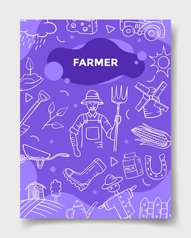 Farmer jobs job beruf mit doodle-stil für vorlage von bannern, flyern, büchern und zeitschriften-cover-vektor-illustration