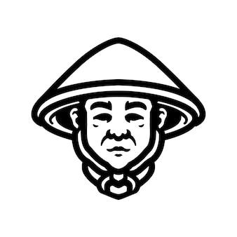 Farmer logo nahaufnahmedesign, perfekt für logo, symbol, druck oder etc