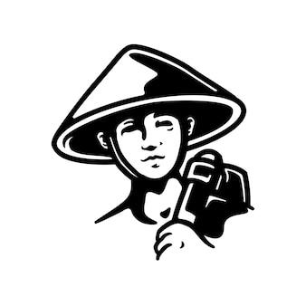Farmer nahaufnahmedesign, perfekt für logo, symbol, druck oder etc