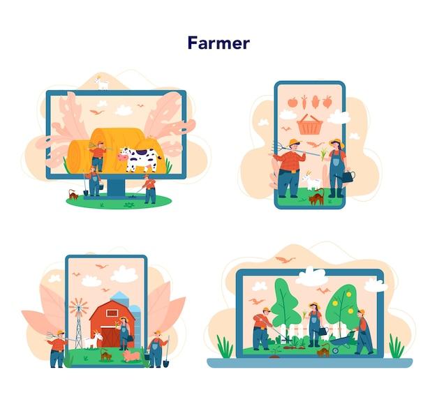 Farmer onlinedienst oder plattform auf unterschiedlichem gerätekonzept. landwirte, die auf dem feld arbeiten. sommerlandschaftsansicht, landwirtschaftskonzept.